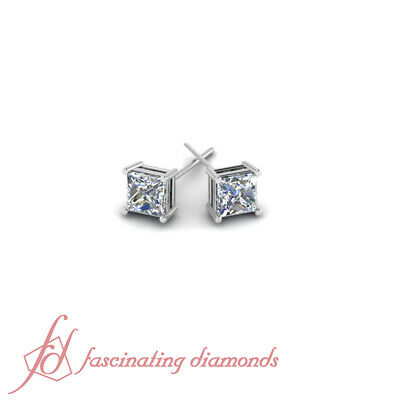 3/4 Ct Solitaire Natural Diamond Princess Cut Earring Stud 14k White Gold SI2