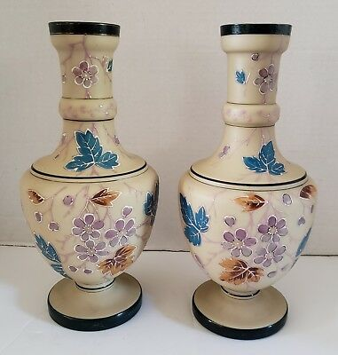 Antique Pair Victorian Bohemian Hand Blown Hand Painted Floral Enameled Vases