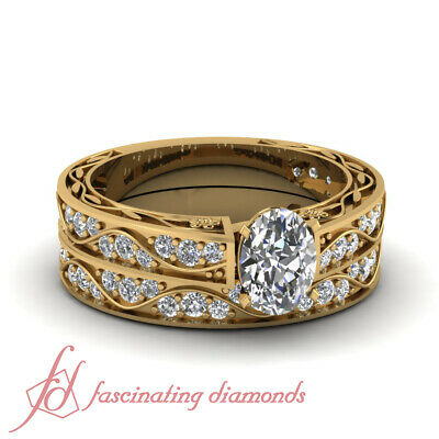 1.70 Carat Oval Diamond Victorian Antique Wedding Rings In 18K Yellow Gold GIA