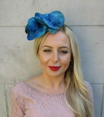 Turquoise Teal Blue Orchid Flower Fascinator Headpiece Headband Wedding Vtg 7146