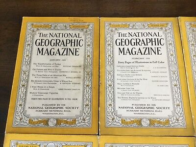 national geographic magazines complete year 1939 - 12 issues !