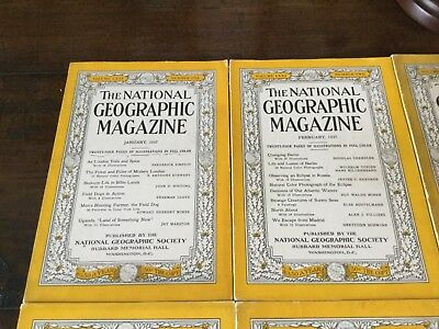 national geographic magazines complete year 1937 - 12 issues !!