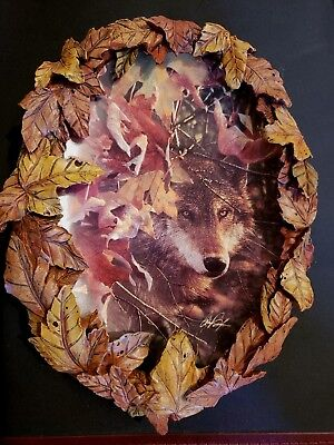 Wolf decor GLIMPSE OF GOLD 3rd in series plate Season of the Wolf Collin Bogle