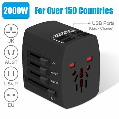 2000W International Travel Power Adapter, All in One Universal 4 USB 150 Country
