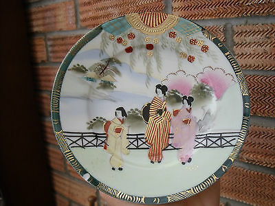 Pair of Chinese or Japanese Plates ~ Female Figures Waterside Landscape signed