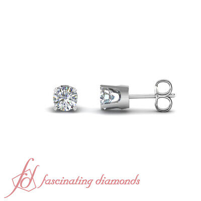 1.50 Ct Round Cut:Ideal Diamond GIA Certified Solitaire Stud Earrings 14K Gold