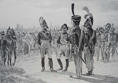 1897  Antique Art Print The Gorgeous Drum Majors from Aquarelle by P Grollerson