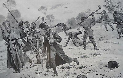 1897  Antique Art Print Russian Peasants attacking French Straglers M Orannge