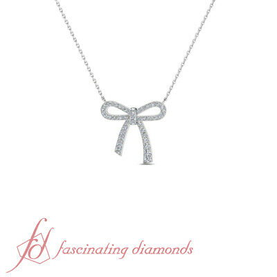 1 Carat Round Cut Bow Diamond Pendant Necklace With Chain In 14K White Gold