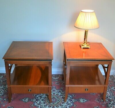 PAIR Antique Style Bedside Side Lamp Tables X-Frame With Drawer By W L Maclean