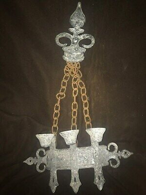 1967 Sexton Gothic Medieval Chain Hanging Metal Wall Sconce 3 Candle Holder 24""