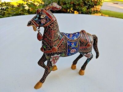 Cloisonne Horse Statue Antique Chinese Pure Hand Painted Exquisite!