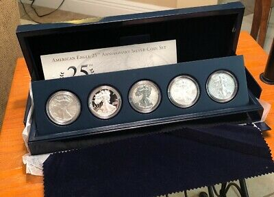 2011 U.S. Mint American Eagle 25th Anniversary Silver Coin Set With OGP & CO