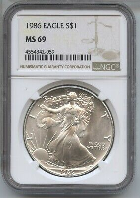 1986 American Eagle Silver Dollar 1 oz NGC MS 69 Certified - One Ounce - BA487