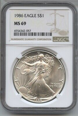 1986 American Eagle Silver Dollar 1 oz NGC MS 69 Certified - One Ounce BA489