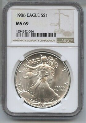 1986 American Eagle Silver Dollar 1 oz NGC MS 69 Certified - One Ounce BA490