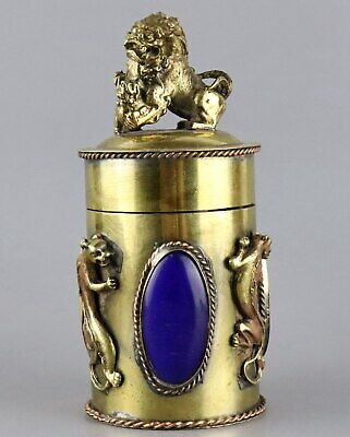 Collect Antique Bronze Hand Carve Lion & Kylin Inlay Agate Noble Toothpick Box
