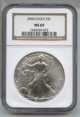 2000 American Eagle Silver Dollar 1 oz NGC MS 69 Certified - One Ounce BA501