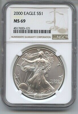 2000 American Eagle Silver Dollar 1 oz NGC MS 69 Certified - One Ounce BA502