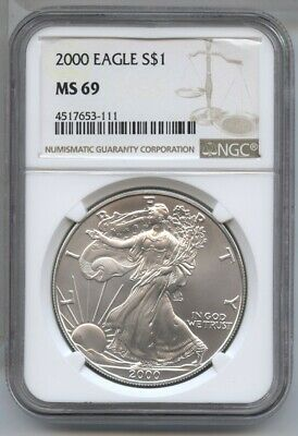 2000 American Eagle Silver Dollar 1 oz NGC MS 69 Certified - One Ounce BA503