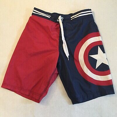 0d536c0bc7 Men's Marvel Comics Captain America Board Shorts Trunks Size Small Blue Red