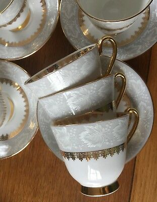 VINTAGE WINDSOR WHITE LEAVES & GOLD BONE CHINA TEA SET 1950s FAB 21 PCS Offers