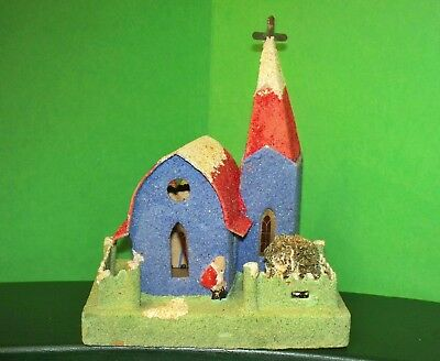 Antique 1930's Japan Putz Blue/Red Church Building Santa in Front W/Steeple