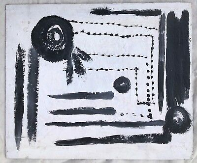 """1970s  BLACK & WHITE - ABSTRACT Painting Mid-Century Modern ART o/c 18"""" x 24"""""""