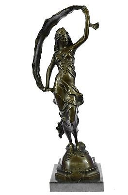 Art Deco Ribbon Dancer Bronze Sculpture Marble Base Figurine Hot Cast  Figure LR