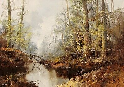 INGFRIED HENZE MORRO Signed Vint MidCentury Orig Painting BLACK FOREST STREAM