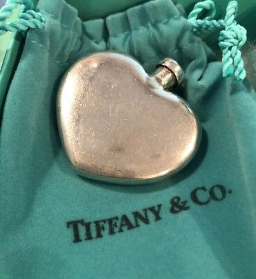 Tiffany & Co. Vintage Sterling 925 Silver Heart Shaped Perfume Bottle Flask Box