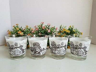 Vintage Lot of Glass Tumbler Drinking Cup Glasses Mid Century Town Scene Unmarke