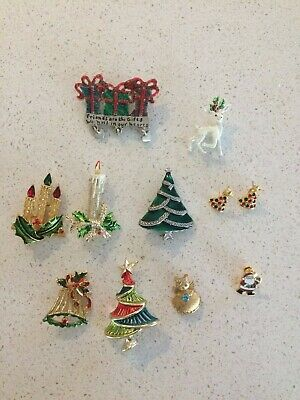 Christmas Brooches And Pins.Vintage Christmas Brooches Pins Lot Of 9 Pins 1 Pair Earings