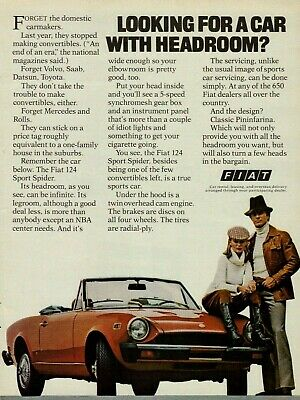 1977 Fiat 124 Sport Spider Red Convertible Vintage Color Photo Print Ad