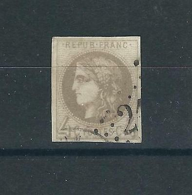 France Stamps 40 Y&T 41 4c Gray Bordeaux Used F/VF 1870 SCV $200.00