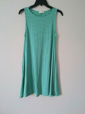 f244f94d8e23 Hourglass Lilly Sleeveless Green and White Striped Swing Dress Size Small