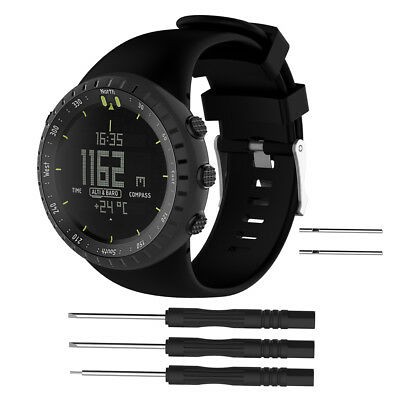 Replacement Silicone Watchband Wrist band Strap For Suunto Core All Black Sport