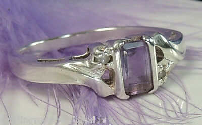 Amethyst & White Tourmaline 0.925 STERLING SILVER Estate Engagement Ring Size 8
