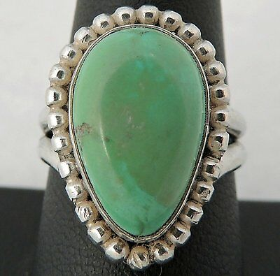 NICE ESTATE STERLING SILVER GREEN TURQUOISE TEAR DROP BEAD DETAIL RING size 8.75
