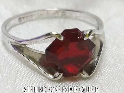 VINTAGE FOUR PRONG Sterling Silver Estate RED GLASS SOLITAIRE RING size 5.25