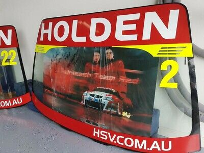 v8 supercars memorabilia HRT VZ Commodore 2 Windscreens race damaged cracked