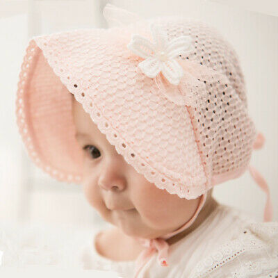 Cute Toddlers Baby Girls Flower Princess Sun Hat Cap Summer Cotton Hat Bonnet UK