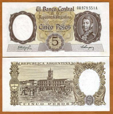 Argentina, 5 Pesos, ND (1960-1962), P-275a, UNC > Over 50 years old