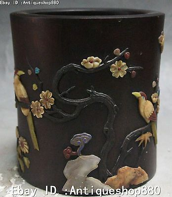 Huanghuali Wood Inlay Shell Plum Magpie Pen Container Brush Pot Pencil Vase