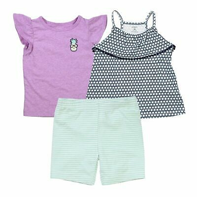 Carter's 3 Piece Violet Pineapple Set for Girls - T-Shirt, Top, Shorts,  Size 5t