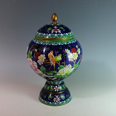 Vintage Blue Chinese Cloisonne Covered Urn Birds Lotus Flowers