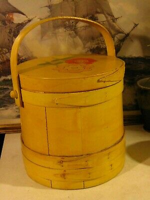 Antique Primitive Yellow Painted Wooden Applique Bucket Handle and Lid