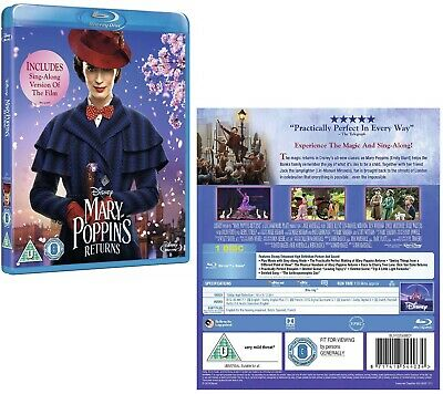 MARY POPPINS RETURNS (2019): Comedy, Family, Fantasy, Sequel NEW Rg Free BLU-RAY