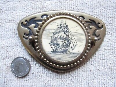 Exc Replica Scrimshaw BELT BUCKLE, Ship at Sea, Navy, Maritime, Nautical Jewelry
