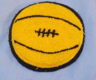 Chenille Patch Basketball Gold/yellow Black Vintage Letterman Sew On